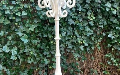Wrought iron white lacquered 6-light candle stand