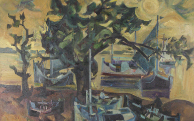 Zoma Baitler (1908-1994) - The Tree of the Island, Oil on Canvas, 1988.