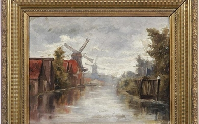 signed Vermeulen, Houses and mills on water, panel