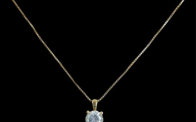 14K Yellow Gold & Diamond Solitaire Necklace