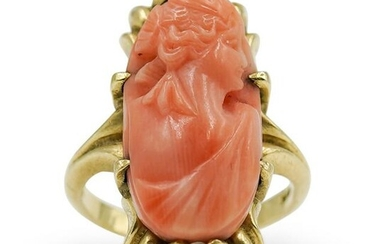 14kt Gold Coral Cameo Ladies Ring