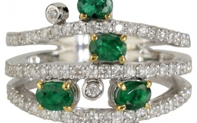 1.73 tcw Emerald Natural Diamond Ring in 18K White Gold