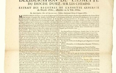 """1730. (GARD). """"Deliberation of the Plate of the DIOCESE OF UZÈS, on the PATHWAYS. Extract from the registers of the General Assiette of the Diocese of UZÈS, assembled in the Town of UZÈS. of March 7, 1730. Vignette with the Coat of Arms. (List of the..."""