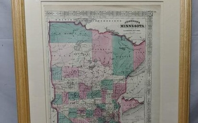 1865 Hand Colored Litho Map by Johnson of Minnesota