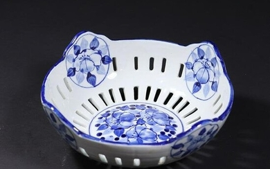 19th C. Blue & White Reticulated Porcelain Fruit Bowl
