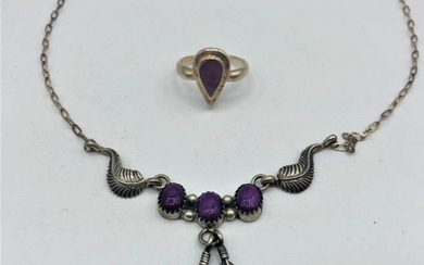 2-PC STERLING SILVER PURPLE AMETHYST NECKLACE And RING.