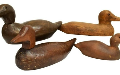 (4) CARVED WOOD DUCK DECOYS