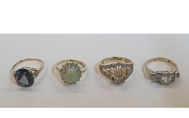 4 x 9ct rings, one yellow gold Topaz and Diamond ring, one y...