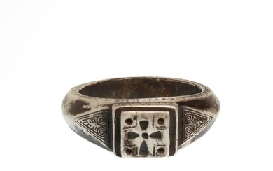 Byzantine Silver Inscribed Ring, c. 6th-7th Century