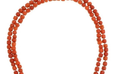 A 19th Century Two Strand Red Coral Necklace