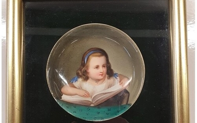 A 19th Century hand painted Dish, framed along with a prattw...