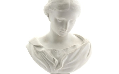 A 19th century biscuit porcelain bust of a young lady. Made by Samson after a model by Sevrès. H. 42 cm.