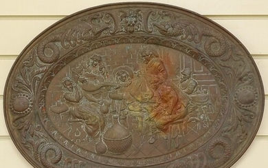 A 19th century oval brass plaque, relief embossed tavern and...