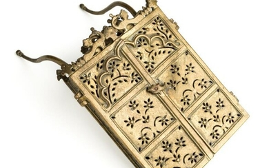 A BRASS BOOK CONTAINER, PROBABLY FOR A QUR'AN, NORTHERN...