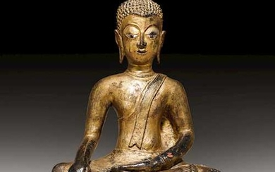 A BRONZE FIGURE OF THE SEATED BUDDHA.