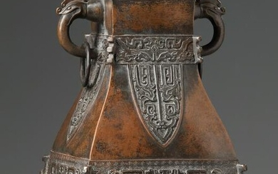 A CHINESE BRONZE ARCHAISTIC VASE, HU, CHINA, 20TH
