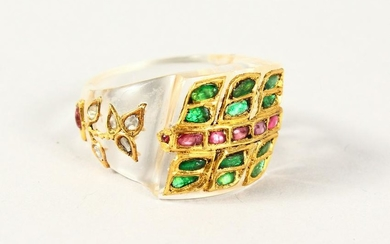 A CRYSTAL AND GOLD, RUBY, DIAMOND AND EMERALD DESIGNER