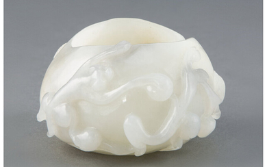 A Chinese Carved White Jade Brush Washer