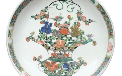 A Chinese Porcelain Dish, Kangxi, painted in famille verte enamels...