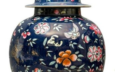 A Chinese blue-ground ginger jar vase.
