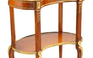 A Continental Gilt Bronze Mounted Kidney-Form Two-Tier Side Table (late 19th-early 20th century)