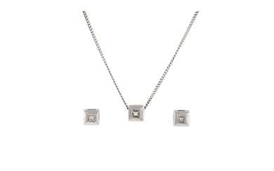 A DIAMOND SET PENDANT AND MATCHING EARRINGS, mounted in 18ct...