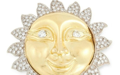 A DIAMOND SUN BROOCH in 18ct yellow and white gold