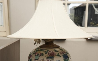A FAMILLE ROSE PORCELAIN TABLE LAMP, 45 CM TOTAL HEIGHT, LEONARD JOEL LOCAL DELIVERY SIZE: SMALL