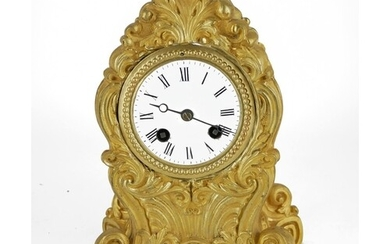A FRENCH 19TH CENTURY GILT BRASS MANTLE CLOCK Having a Rococ...