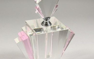 A HEAVY ART DECO DESIGN PLAIN AND PINK GLASS SCENT