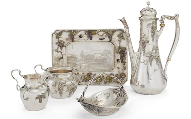 A JAPANESE EXPORT SILVER AND ENAMEL THREE-PIECE COFFEE SERVICE, CIRCA 1900