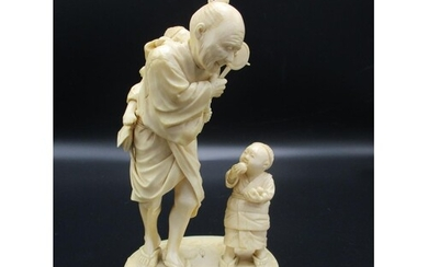 A Japanese Meiji period ivory okimono, modelled as an elderl...
