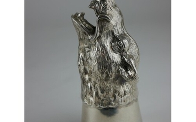 A LATE 19TH CENTURY CONTINENTAL SILVER .800 STIRRUP CUP FORM...
