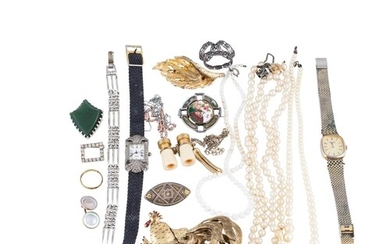 A LOT OF COSTUME JEWELLERY, including necklace, a pair of mi...