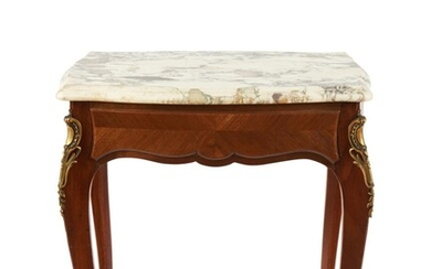 A LOUIS XV STYLE MARBLE TOP SINGLE DRAWER SIDE TABLE 20TH CENTURY