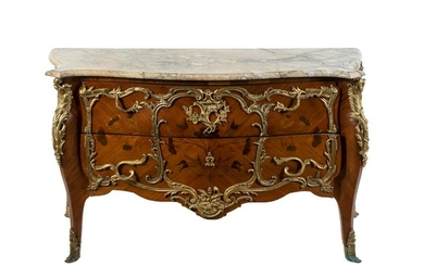 A Louis XV Gilt Bronze Mounted Kingwood and Marquetry