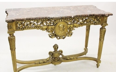 A Louis XVI style marble top and gilt wood console table, la...