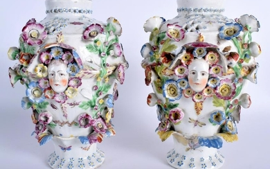A PAIR OF 18TH CENTURY CHELSEA DERBY PORCELAIN VASES