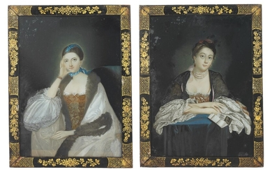 A PAIR OF CHINESE EXPORT REVERSE-GLASS PAINTINGS OF EUROPEAN LADIES, LATE 18TH CENTURY, AFTER SIR JOSHUA REYNOLDS