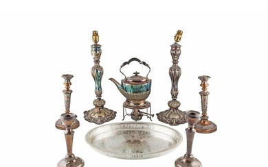 A PAIR OF LATE VICTORIAN ROCOCO STYLE LAMP BASES, circa 16''...
