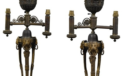 A PAIR OF REGENCY GILT AND PATINATED BRASS COLZA 'PATENT' LAMPS, CIRCA 1812, ATTRIBUTED TO SMETHURST AND PAUL