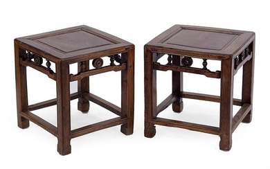 A Pair of Chinese Elmwood Plant Stands.