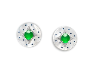 A Pair of Jadeite Cabochon, Gem-set and Diamond Cufflinks