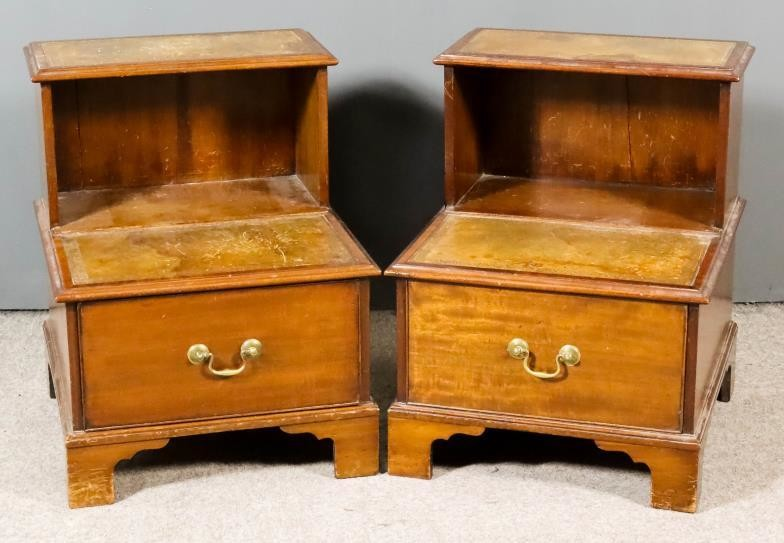 A Pair of Modern Mahogany Two-Tier Bedside Tables/Steps, with...