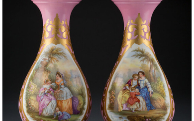 A Pair of Sèvres-Style Partial-Gilt and Polychrome Porcelain Vases (20th century)