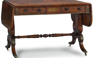 A REGENCY BRASS INLAID ROSEWOOD CROSSBANDED MAHOGANY SOFA TABLE, CIRCA 1820