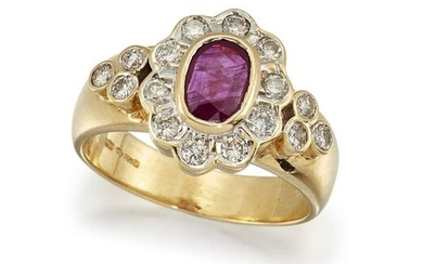 A RUBY AND DIAMOND CLUSTER RING The collet-set