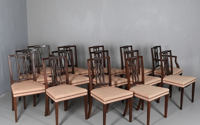 A SET OF FOURTEEN MAHOGANY & UPHOLSTERED DINING CHAIRS.