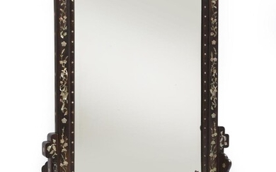 A STRAITS CHINESE MOTHER OF PEARL INLAID HARDWOOD MIRROR QING DYNASTY (1644-1912), CIRCA 19TH CENTURY