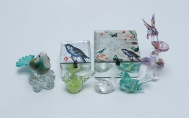 A Small collection of artglass Bird Figures together with two Small Bird Themed Jewellery Boxes